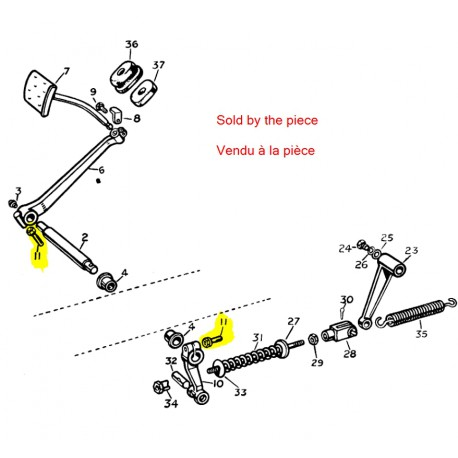 Cotter pin clutch pedal to lever 1948-54